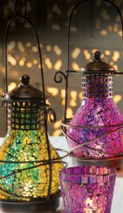 Lantern~Hurricane Style Lantern Two Tone Glass Mosaic Lantern~Fair Trade by Folio Gothic Hippy LT39